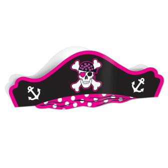 Pinker Piratenhut aus Pappe 38 cm