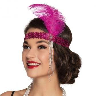 """Pinkes Stirnband mit Feder """"20er Jahre"""""""