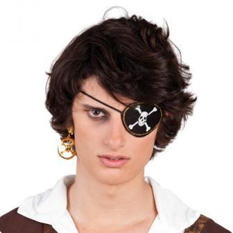 Piraten Augenklappe und Ohrring 2-tlg.