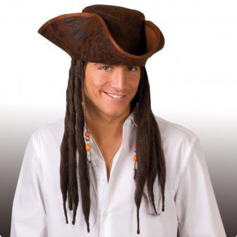 Piratenhut Captain Jack mit Dreadlocks