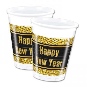 """Plastikbecher """"Glamour New Year"""" 8er Pack"""