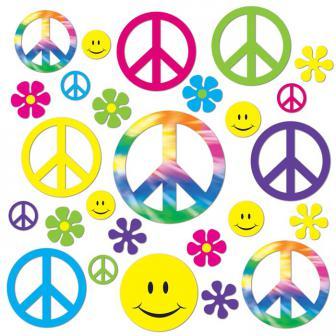 Raumdeko 60er Jahre Flowers & Peace 42-tlg.