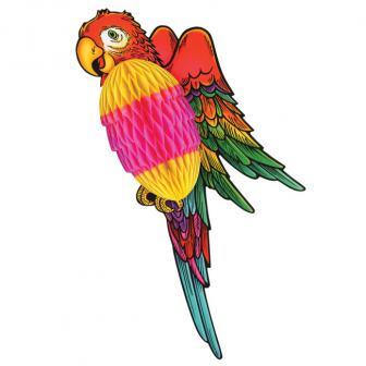 Raumdeko Farbenfroher Wabenpapier-Papagei 43 cm