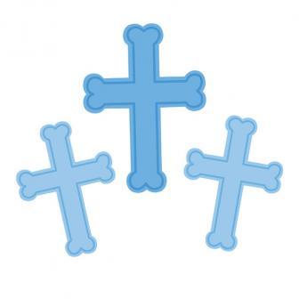 """Raumdeko """"Farbenfrohes Kreuz"""" 3er Pack-blau"""