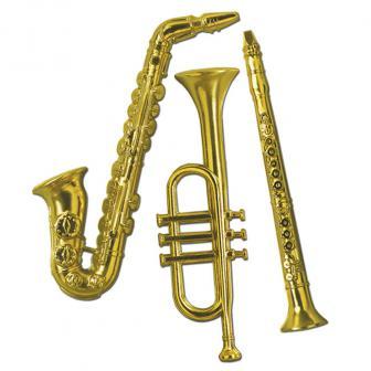 "Raumdeko ""Goldene Musikinstrumente"" 3-tlg. 53 cm"