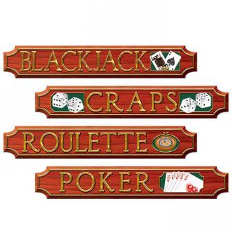"Raumdeko ""Klassische Casino-Schilder"" 4-tlg."