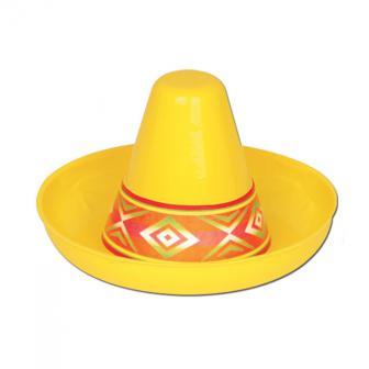 Raumdeko Mini Plastik-Sombrero gelb 12 cm