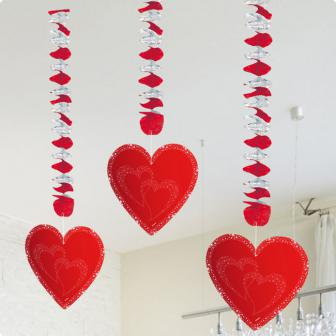"Rotor-Spiralen Deckenhänger ""Rote Herzen"" 3er Pack"