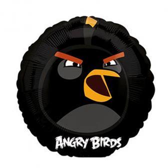 "Runder Folien-Ballon ""Angry Birds - Schwarzer Vogel"" 23 cm"