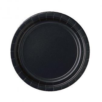 Einfarbige Pappteller 23 cm 8er Pack-schwarz