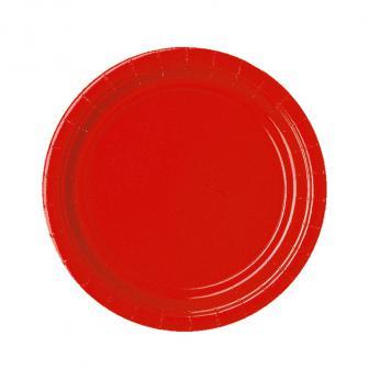 Einfarbige Pappteller 23 cm 8er Pack-rot