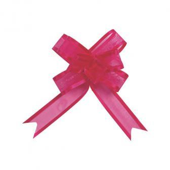 Selbstraffende einfarbige Organza-Schleifen 5er Pack-pink