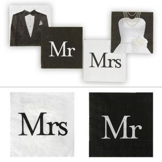 """Servietten """"Mr & Mrs"""" 20er Pack"""