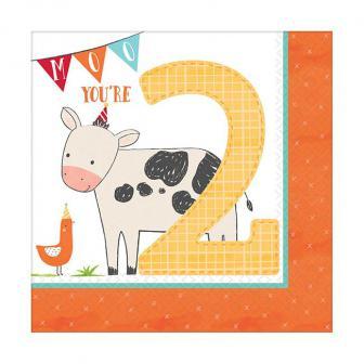 """Servietten """"Niedliche Farm-Tiere"""" 2. Geburtstag 16er Pack"""