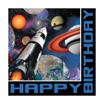 """Servietten Happy Birthday """"Space Shuttle und Planeten"""" 16er Pack"""