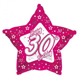 "Sternförmiger Folien-Ballon Happy Birthday ""Pretty Pink 30"" 45 cm"