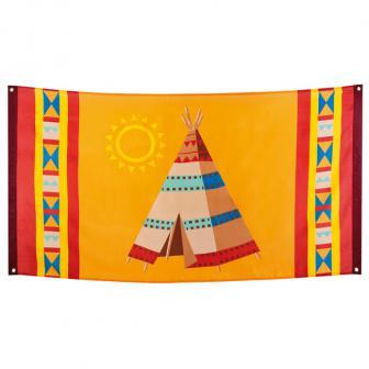 """Stoff-Banner """"Indianerleben"""" 150 x 90 cm"""