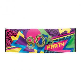 "Stoff-Banner ""Wilde 80er Party"" 220 x 74 cm"