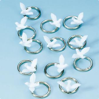 """Streuteile """"Weiße Taube mit silbernem Ring"""" 12er Pack"""