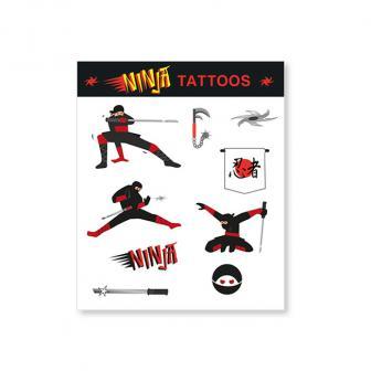 Tattoos Mutiger Ninja 9-tlg.