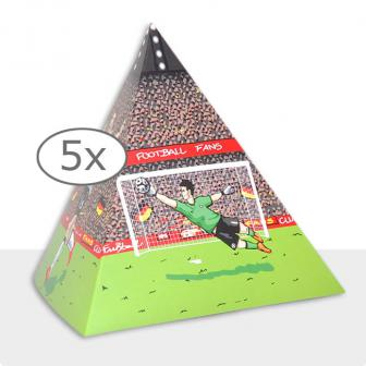 Tischdeko Fußball-Pyramide 13,5 cm 5er Pack