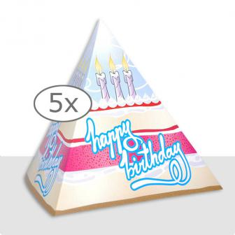 Tischdeko Geburtstags-Pyramide 13,5 cm 5er Pack