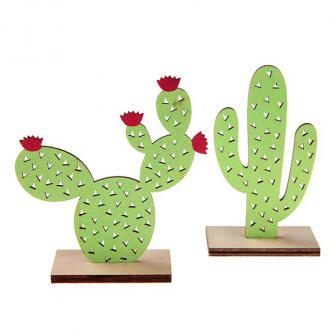 "Tischdeko Kaktus aus Holz ""Buntes Peru"" 10 cm"