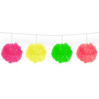 UV Leucht Pom-Pom Girlande aus Wabenpapier 3 m