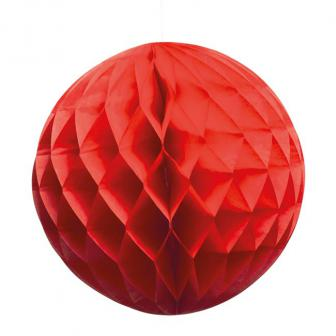"Wabenpapier-Ball ""Farbenfroh"" 25 cm-rot"