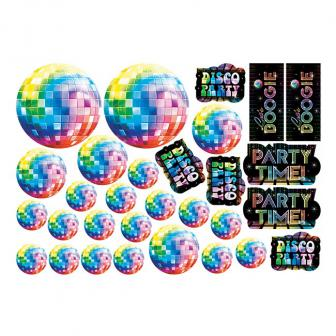 """Wanddeko """"Buntes Disco Fever"""" 30-tlg."""