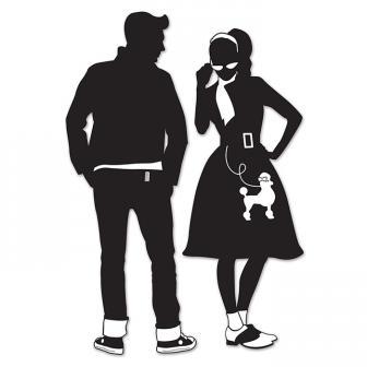 "Wanddeko-Silhouetten ""50s Boy & 50s Girl"" 93 cm 2-tlg."