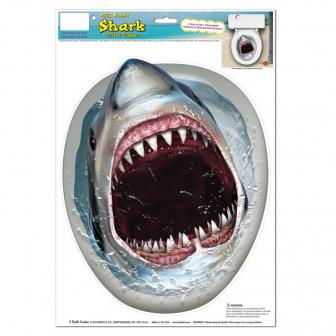 Selbstklebende WC-Dekofolie Weißer Hai 35 x 28 cm
