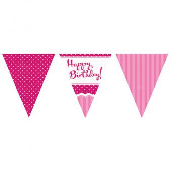 "Wimpel-Girlande ""Happy Birthday Pretty Pink"" 370 cm"