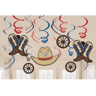 "Wirbel-Deckenhänger ""Howdy Cowboy"" 12-tlg."
