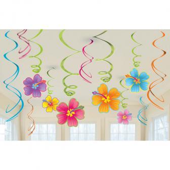 "Wirbel-Deckenhänger ""Hibiskus-Blüten"" 12-tlg."