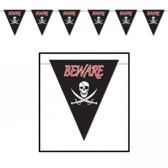 "XXL Wimpel-Girlande ""Beware of Pirates"" 3,7 m"