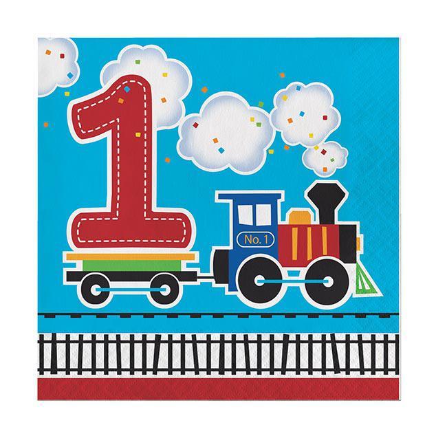 Servietten Kunterbunte Eisenbahn 1 Geburtstag 16er Pack Gunstig