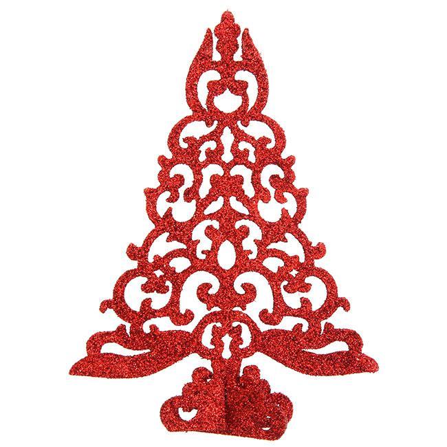 Aufsteller funkelnder weihnachtsbaum 15 cm rot g nstig for Weihnachtsbaum rot silber