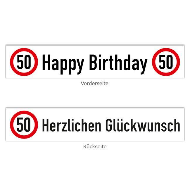 """Banner Verkehrsschild """"50. Geburtstag"""" 70 x 13 cm günstig kaufen bei PartyDeko.de"""