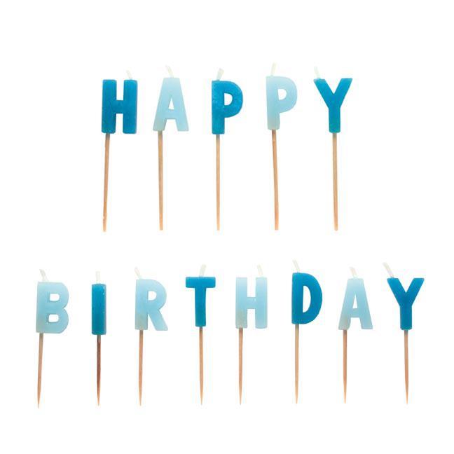 Buchstaben kerzen auf holz picker happy birthday 13 tlg for Dekorieren 9 buchstaben