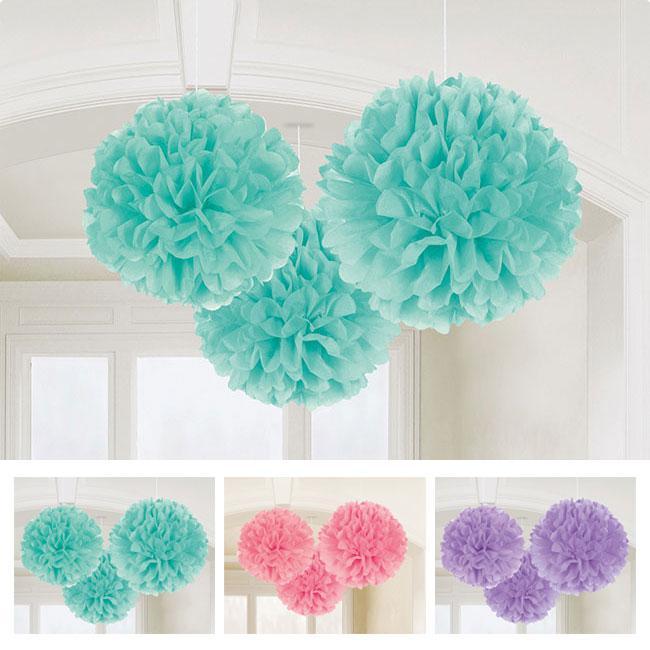 einfarbige pom poms aus wabenpapier farbenspiel 3er pack. Black Bedroom Furniture Sets. Home Design Ideas