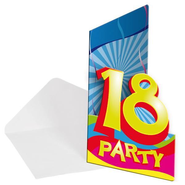 """Einladungskarten 18. Geburtstag """"Partyspaß"""" 8er Pack günstig kaufen ..."""