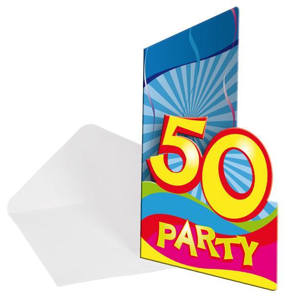 einladungskarten 50 geburtstag partyspa 8er pack g nstig kaufen bei. Black Bedroom Furniture Sets. Home Design Ideas