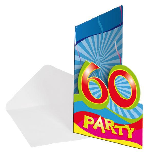 einladungskarten 60 geburtstag partyspa 8er pack. Black Bedroom Furniture Sets. Home Design Ideas