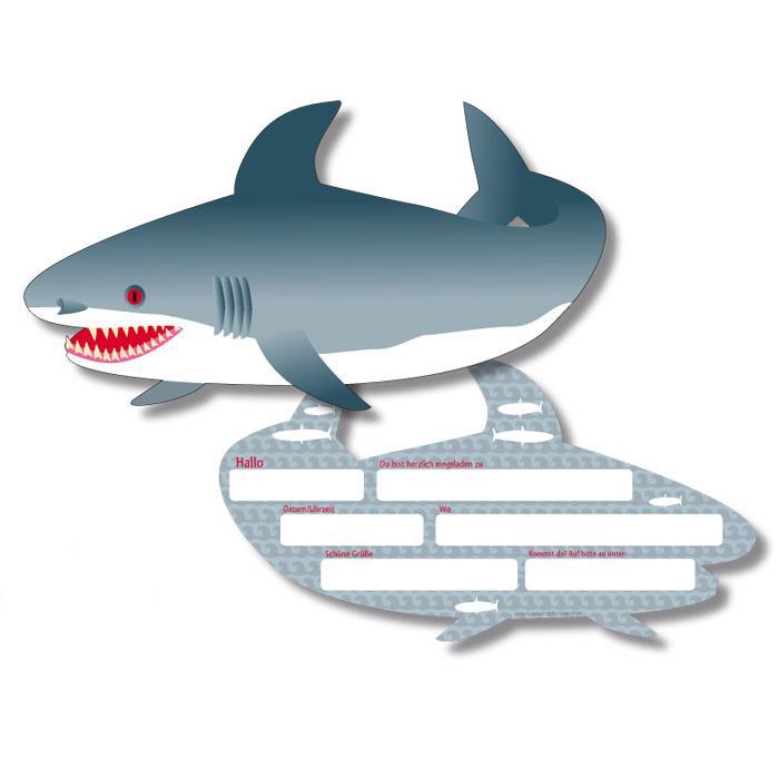 """Einladungskarten """"Gefährlicher Hai"""" 6er Pack günstig kaufen bei ..."""