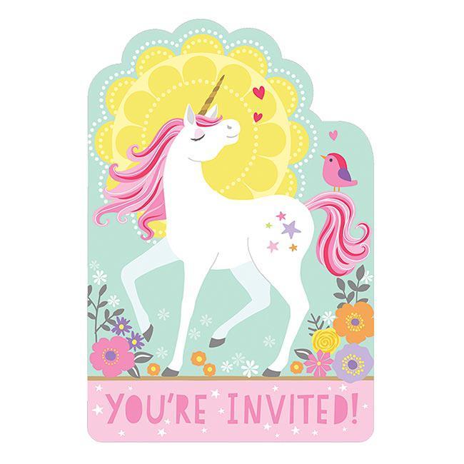 """einladungskarten """"magic unicorn"""" mit umschlägen 8er pack"""