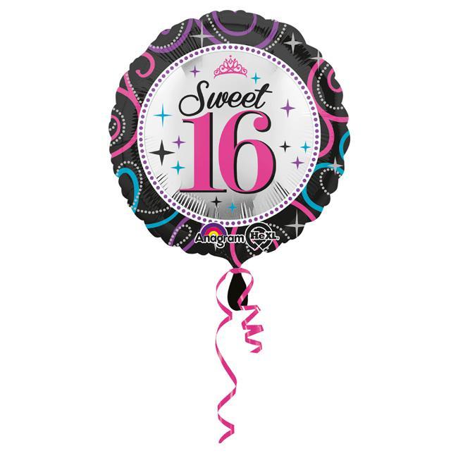 folienballon sweet 16 party 43 cm g nstig kaufen bei. Black Bedroom Furniture Sets. Home Design Ideas