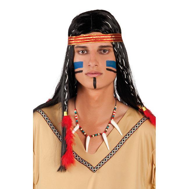 Kette mit Kojotenzahn Schmuck Zahn farbig umwickelt längenverstellbar Indianer