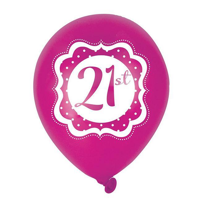 Luftballons pretty pink 21 geburtstag 6er pack g nstig Deko 30 geburtstag pink