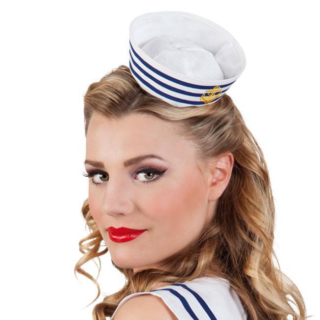 Original kaufen begehrteste Mode günstigster Preis Matrosen Mini-Hut mit Haarreif günstig kaufen bei PartyDeko.de